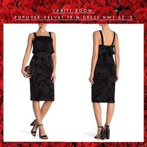 Vanity Room NWT- LBD Velvet Trim Dress sz. S